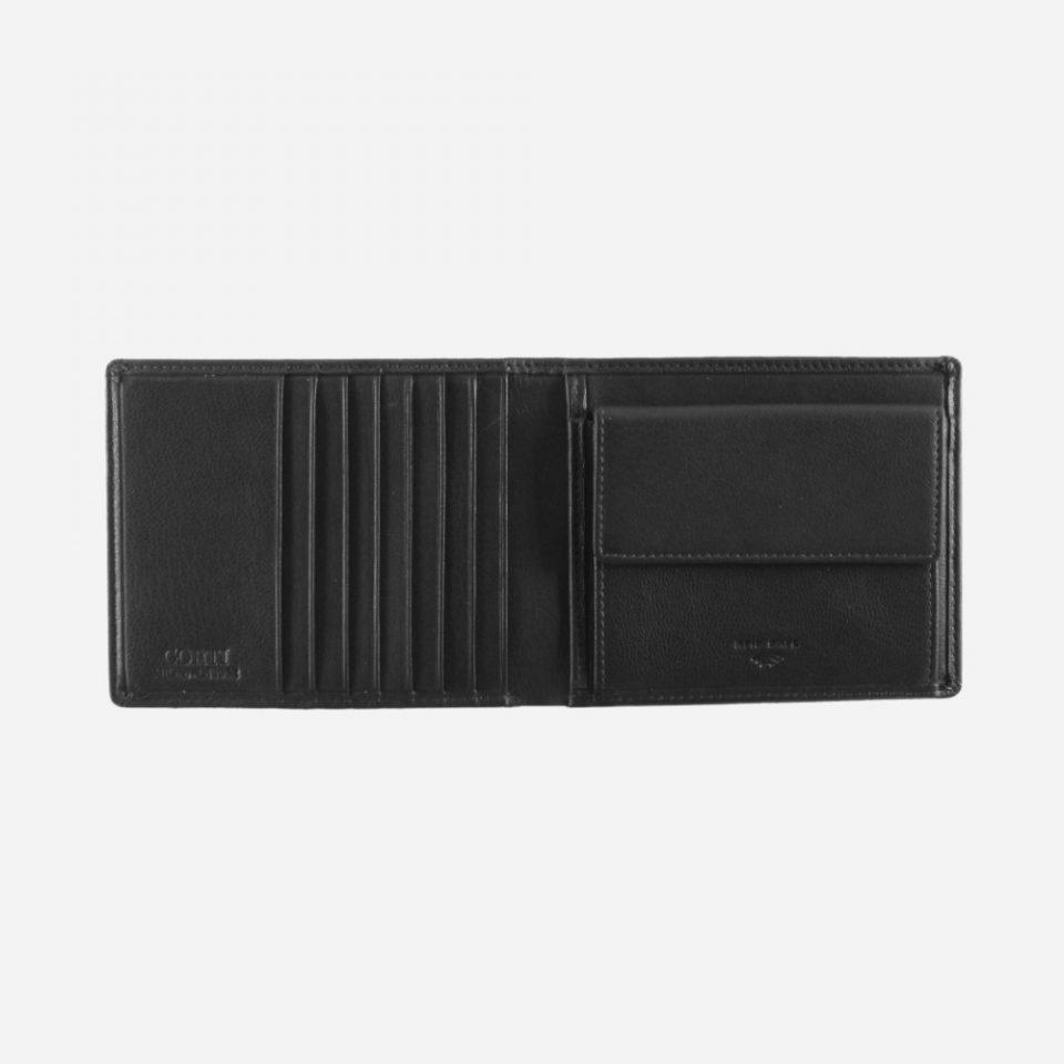 Portafoglio – Basic – Carte – Monete – 7719 – Aperto – Nero