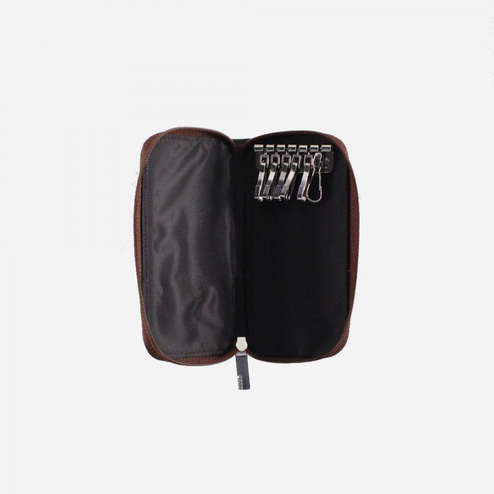 Portachiavi – 6 ganci – Zip around – Classic – Aperto – 2285 – Marrone