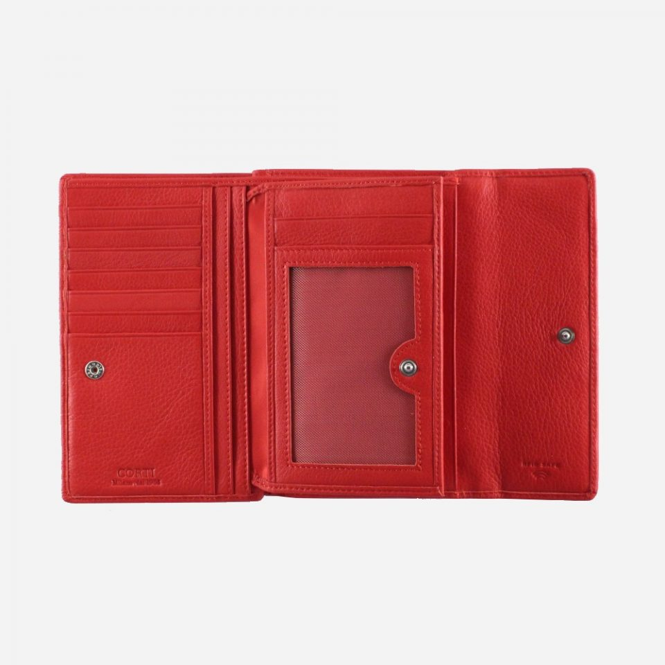 Portafoglio – RFID Safe – Carte – Monete – 4466 – Aperto – Ribaltina – Rosso
