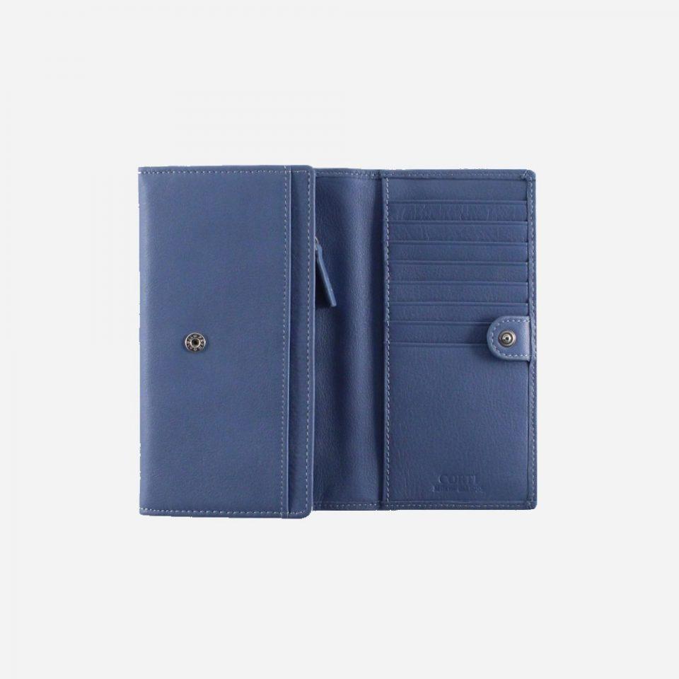 Portafoglio – RFID Safe – Carte – Monete – 4472 – Aperto – Jeans