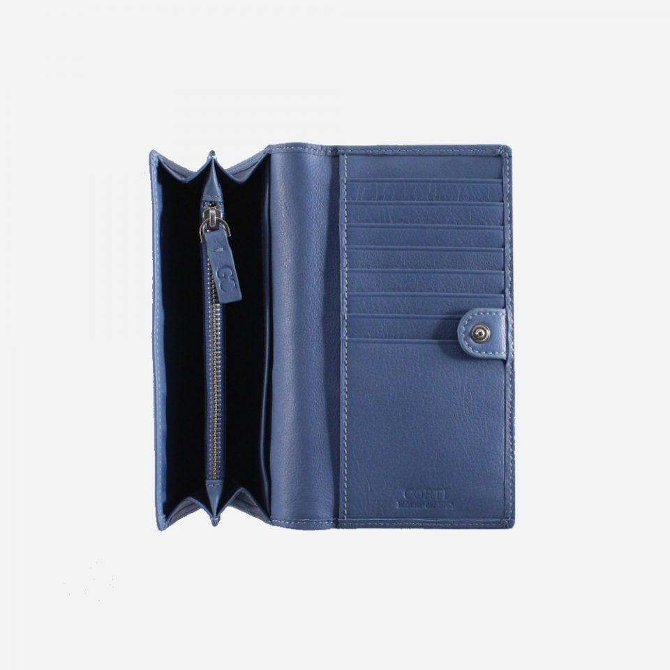 Portafoglio – RFID Safe – Carte – Monete – 4472 – Aperto – Soffietto – Jeans