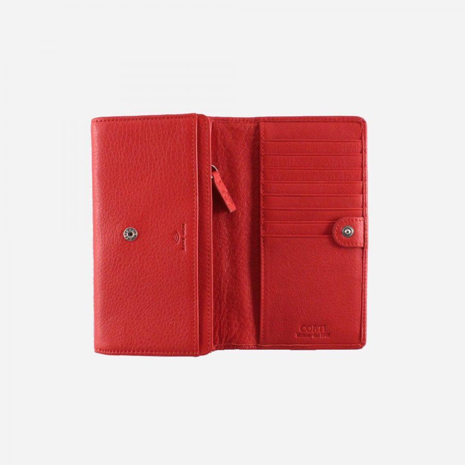 Portafoglio – RFID Safe – Carte – Monete – 4472 – Aperto – Rosso