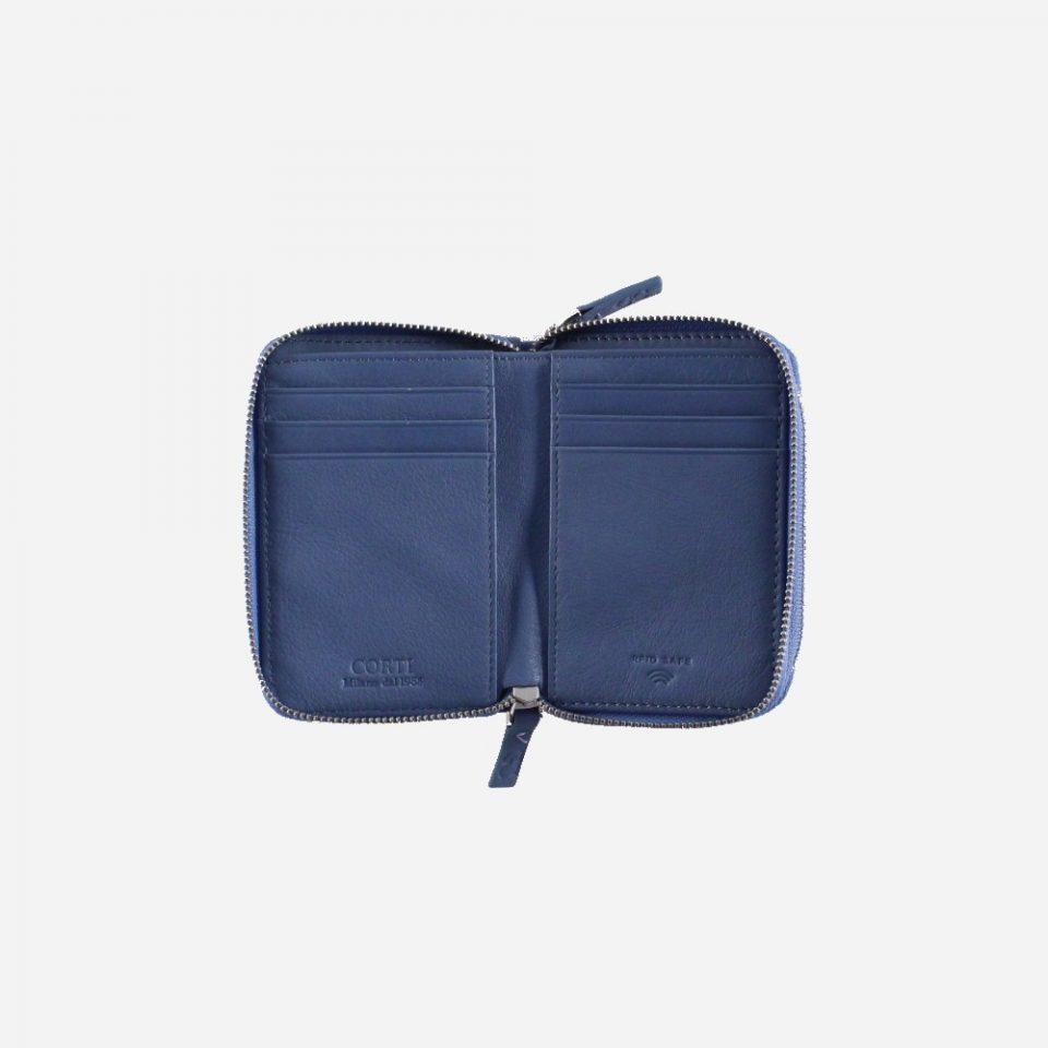 Portafoglio – RFID Safe – Carte – Monete – Zip Around – 4474 – Aperto – Jeans
