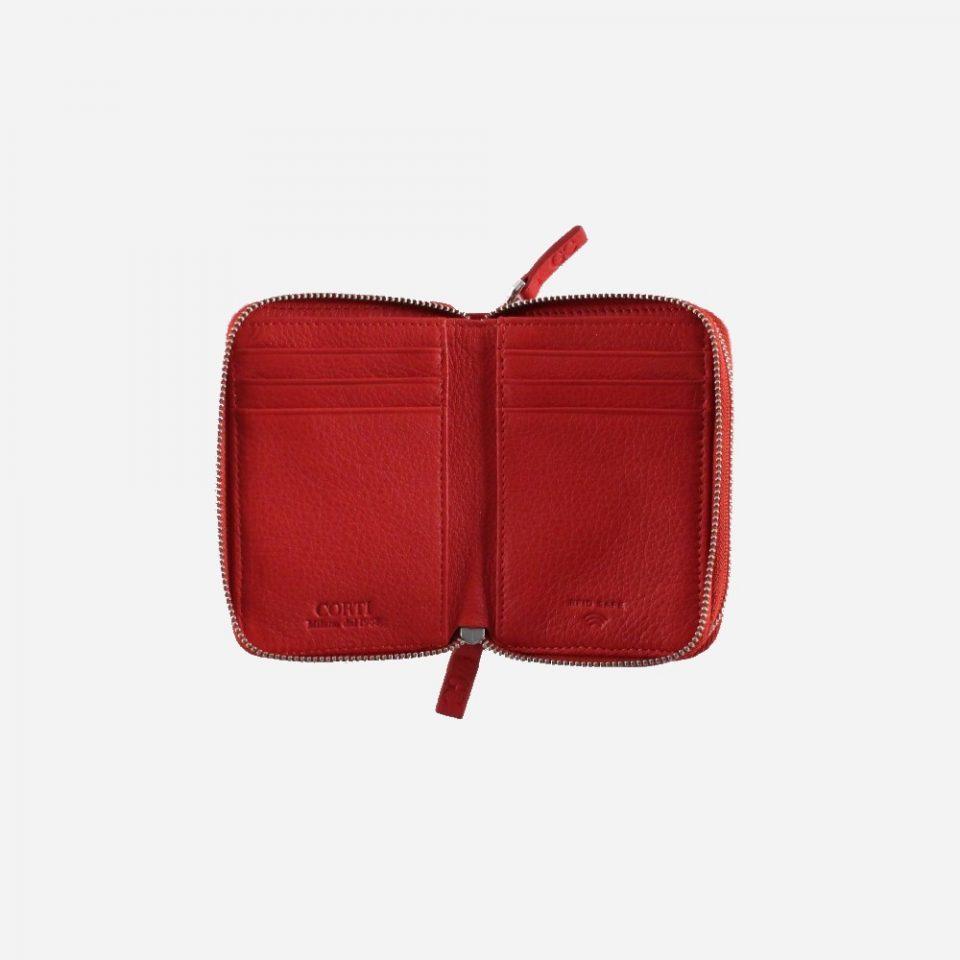 Portafoglio – RFID Safe – Carte – Monete – Zip Around – 4474 – Aperto – Rosso