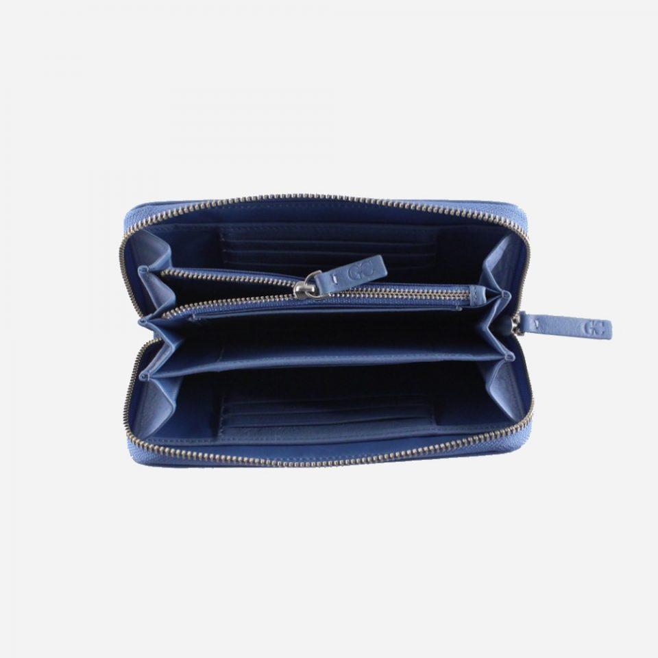 Portafoglio – RFID Safe – Carte – Monete – Zip Around – 4478 – Aperto – Jeans