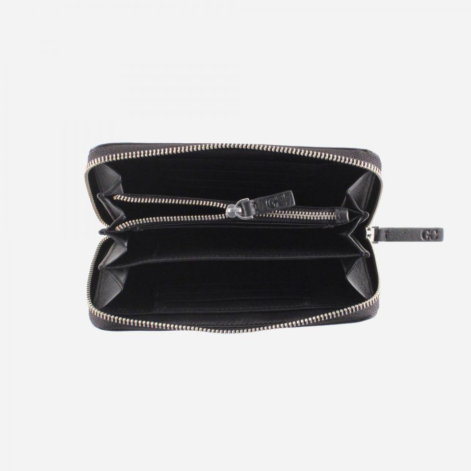 Portafoglio – RFID Safe – Carte – Monete – Zip Around – 4478 – Aperto – Nero