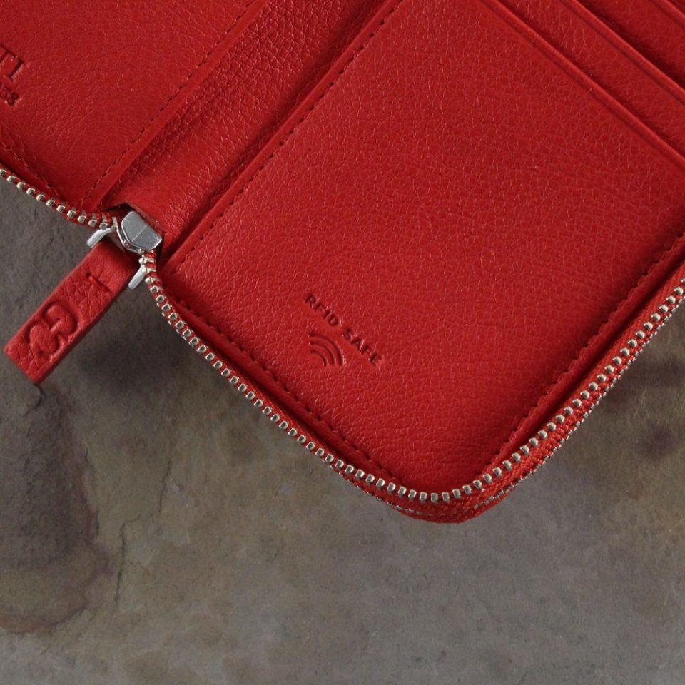 Portafoglio – RFID Safe – Carte – Monete – Zip Around – 4474 – Dettagli – Rosso
